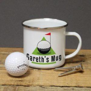 Buy him this personalised golf green enamel mug