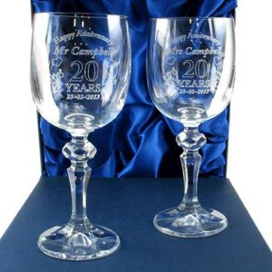 Buy them these Mr and Mrs 20th Anniversary Engraved Crystal Wine Glasses