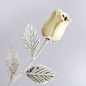 Buy her this Personalised Silver Plated Rose With Pearl Bud for this anniversary gift