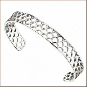 Buy her this Beginnings Sterling Silver Open Semi Circle Pattern Bangle