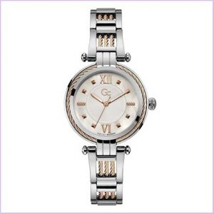 Buy her this stylish GC Cable Bijou Ladies White Mother of Pearl Steel Watch for this anniversary gift