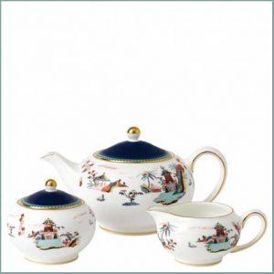 Buy them the Wonderlust Blue Pagoda 3 Piece Set, beautiful bone china set for this anniversary gift