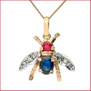 Buy her this Handcrafted Italian 0.50ct Ruby, Sapphire & Diamond Bee Pendant for the 40th anniversary gift