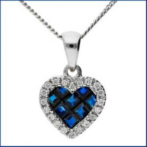 Buy her this 18ct White Gold 0.35ct Sapphire & 0.10ct Diamond Fancy Heart Pendant for her 45th anniversary gift